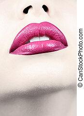 verticaal, schot., lippen, vrouwlijk, sensueel, closeup.