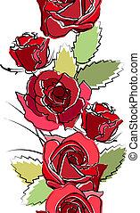 verticaal, seamless, rozen, witte , grens, rood