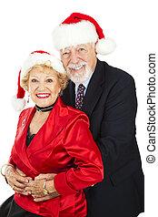 verticaal, senior koppel, kerstmis