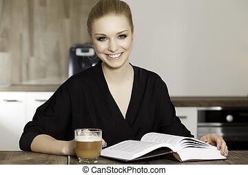 verticaal, slim, boek, student lezen