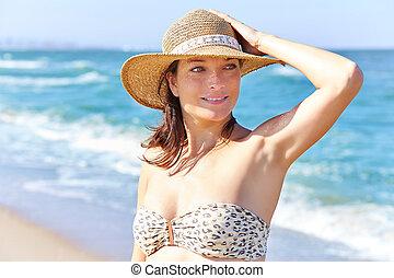 verticaal, strand, mooie vrouw
