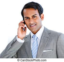 verticaal, telefoon, boeiend, roepen, zakenman