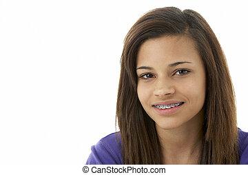 verticaal, tiener, studio, het glimlachen meisje