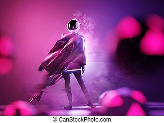 verticaal, toekomst, ruimtevaarder, vrouwlijk