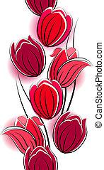 verticaal, tulpen, seamless, witte , grens, rood