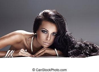 verticaal, van, aantrekkelijk, brunette, lady.