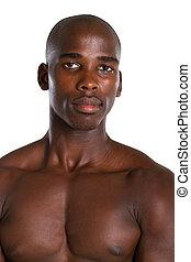 verticaal, van, afrikaans mannetje, bodybuilde