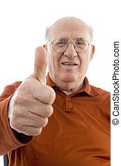 verticaal, van, bejaarde, het tonen, duim boven