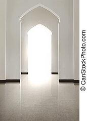 verticaal, van, boog, deur, met, tiled vloer, en, witte , wal