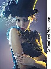 verticaal, van, de, aanlokkelijk, jonge, vrouwelijk model, met, de, hoge hoed