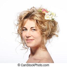 verticaal, van, de, beauty, jonge, blonde , meisje