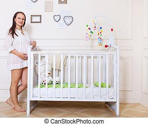 verticaal, van, de, jonge, het glimlachen, zwangere vrouw