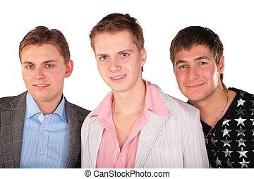 verticaal, van, drie vrienden