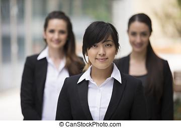 verticaal, van, drie, zakelijk, women.