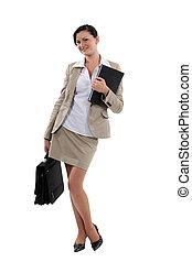 verticaal, van, een, aantrekkelijk, businesswoman