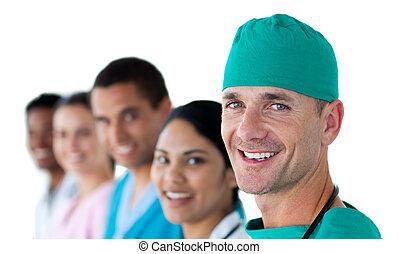 verticaal, van, een, aantrekkelijk, chirurg
