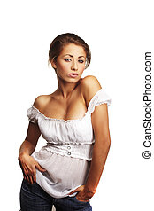 verticaal, van, een, aantrekkelijk, jonge vrouw