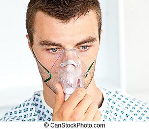verticaal, van, een, aantrekkelijk, patiënt, met, een, masker