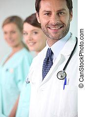 verticaal, van, een, arts, en, verpleegkundigen