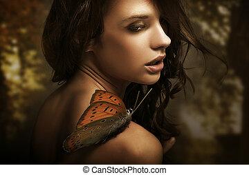 verticaal, van, een, beauty, brunette, met, vlinder