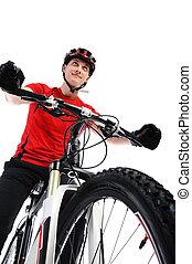 verticaal, van, een, fietser