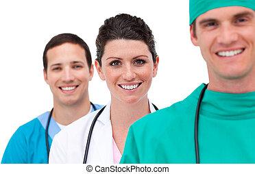 verticaal, van, een, gemengd, medisch team