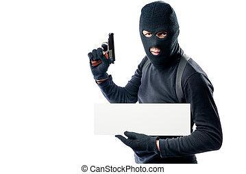 verticaal, van, een, gewapend, man, in, zwarte kleren, met, een, poster, op, een, witte achtergrond