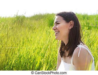 verticaal, van, een, het glimlachen, brunette, vrouw