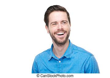 verticaal, van, een, het glimlachen, jonge man, met, blauw hemd