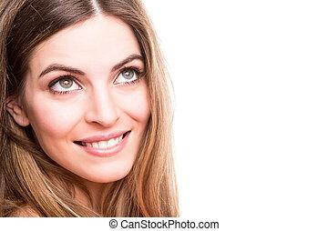 verticaal, van, een, het glimlachen, jonge vrouw