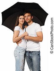 verticaal, van, een, jong paar, met, paraplu