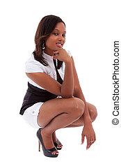 verticaal, van, een, jonge, sexy, afrikaanse amerikaanse vrouw