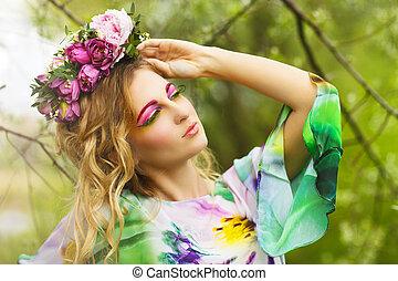 verticaal, van, een, jonge vrouw , met, bloem, kroon