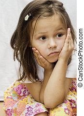 verticaal, van, een, klein meisje