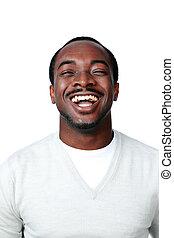 verticaal, van, een, lachen, afrikaanse man, op, witte achtergrond