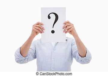 verticaal, van, een, man, het verbergen, zijn, gezicht,...