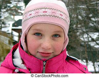 verticaal, van, een, meisje, in, winter hoed
