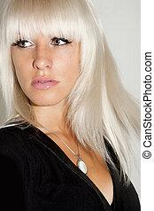 verticaal, van, een, mooi, blonde, vrouw, met, groene ogen