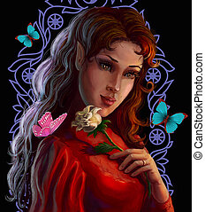 verticaal, van, een, mooi, elf, met, roos