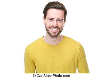 verticaal, van, een, mooi, jonge man, het glimlachen