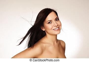 verticaal, van, een, mooi, jonge vrouw , met, haar het vliegen