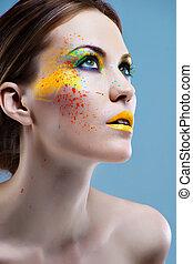 verticaal, van, een, mooi, meisje, met, een, kleur, make-up