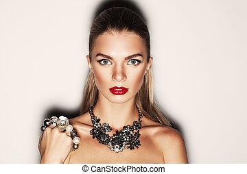 verticaal, van, een, mooi, meisje, met, jewelery