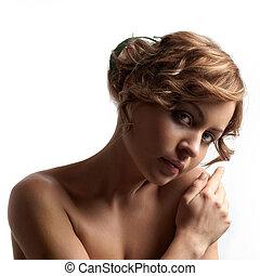 verticaal, van, een, mooi, vrouwelijk model, op wit, achtergrond