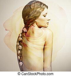 verticaal, van, een, mooie vrouw, met, bloemen, in, haar, haar