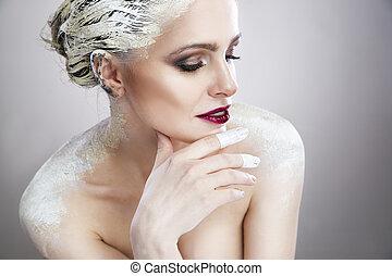 verticaal, van, een, mooie vrouw, met, creatief, makeup