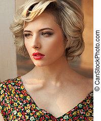 verticaal, van, een, perfect, blonde, beauty