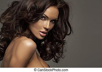 verticaal, van, een, perfect, vrouwelijke schoonheid
