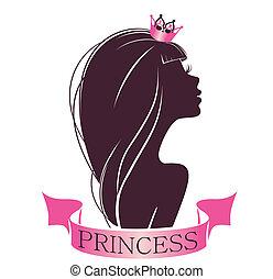 verticaal, van, een, prinsesje