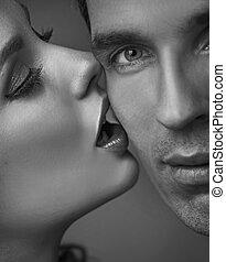 verticaal, van, een, sensueel, volwassen paar